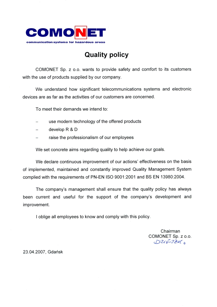Quality policy of Comonet